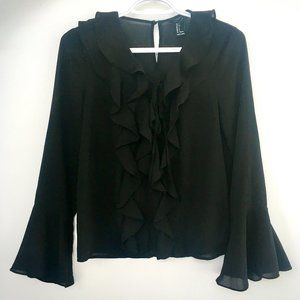 Forever 21 Black Ruffle V Neck Blouse